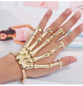 2PCS European American style punk rock style jewelry fashion personality stage performance cosplay punk skull hand bone five finger ring bracelet adjustable one chain
