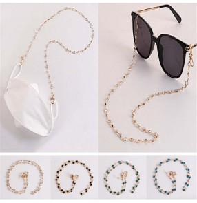 2pcs Face mask hanging bling chain Glasses decoration rhinestones chain anti-lost glasses rope silicone anti-skid ring mask chain