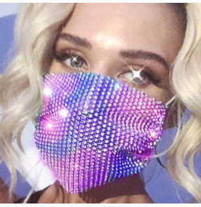 2pcs Fashion bling hollow Reusable face masks for women party photos video shooting stage performance night club dance mouth mask