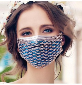 2pcs fashion bling rhinestones hollow face masks sexy glitter night club performance photos video shooting mouth mask for party