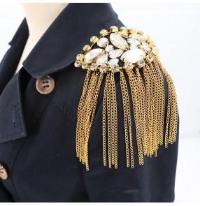 2pcs Fashion punk rock style suit gemstones tassels epaulettes for singer dancers coat blazer exaggerated metal rhinestone brooch fringed epaulettes clothing apparel accessories