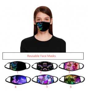 2PCS fashion reusable face masks for women butterfly printed dust proof protective mouth mask for female