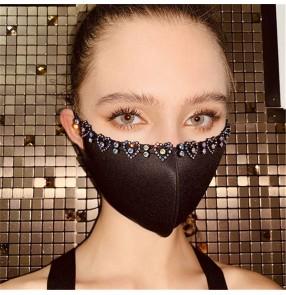 2PCS fashion rhinestones reusable face masks for women bling cotton mouth masks video photos shooting protective face masks