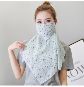 2pcs floral chiffon reusable scarf face masks for women neck guard sun protection outdoor cycling running anti-uv protective mask for female