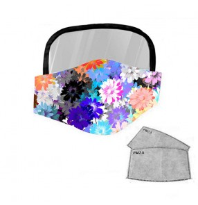 2PCS floral Reusable face masks for unisex full face cover mask with clear eye protection shield protective face mask for women