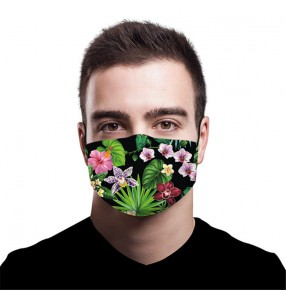 2PCS floral Reusable face masks for unisex stage performance photos shooting fashion face masks for women and men