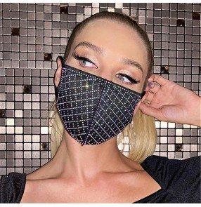 2PCS glitter reusable face masks for women and men outdoor running sports party cotton bling riding face masks for women