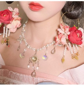 2PCS Hanfu silk flower Fairy dress princess hair flowers Hair ring tassel empress Headdress pearl antique Tang hair ornament