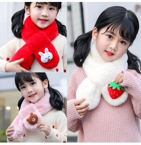 2pcs kids children Faux rabbit fur scarf detachable collar for kids collar cartoon plush scarf Korean boys and girls scarf