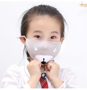 2pcs Kids reusable face mask cotton cartoon cat pattern washable mask dust proof outdoor protective mouth mask