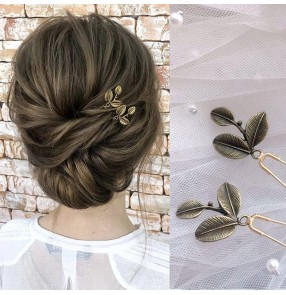 2pcs Korean Bridal photos shooting hair accessories stage performance singers barrette Leaf hairpin U-shaped clip hairpin headdress for women