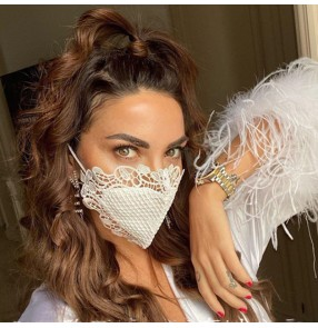 2PCS lace fashion reusable face masks for unisex night club stage performance photos shooting sexy face masks for men and women