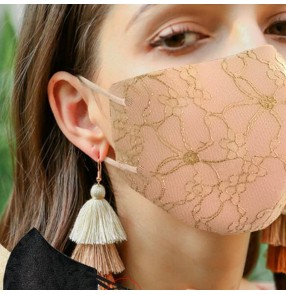 2PCS lace Reusable face masks for women fashion lace pattern photos shooting washable face mask for female