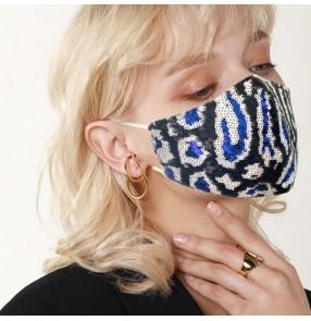 2PCS Leopard sequins glitter reusable face masks for unisex stage performance singers photos shooting face mask for women