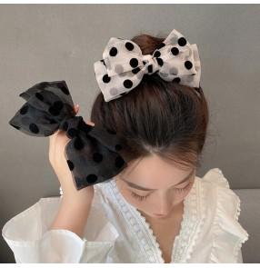 2PCS Organza black bowknot polka dot hairpin for women girls hair rope girl hair ring spring bowknot hair clip for female