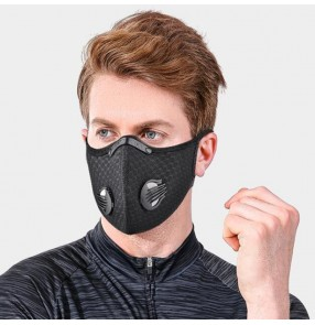 2pcs Outdoor riding anti-spitting saliva reusable face mask dust PM 2.5 proof for unisex with KN95 activated carbon filter