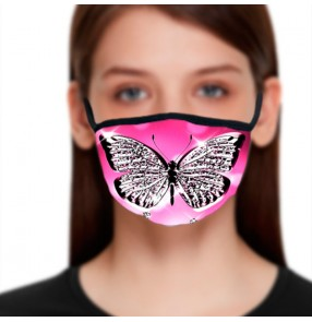 2PCS Pink butterfly fashion reusable face masks for women photos shooting performance masquerade face masks