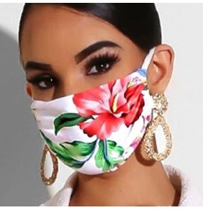 2pcs pink flowers printed reusable face masks for women fashion dust proof outdoor protective mouth mask for female