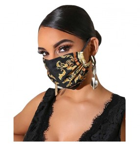 2pcs Printed fashion Reusable face mask for women stage performance photos video shooting outdoor protective mouth masks for female