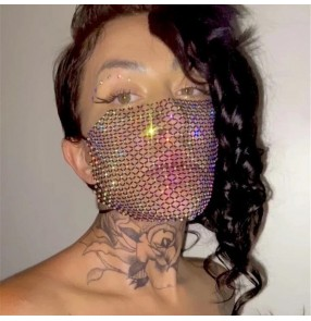 2pcs Removable fishing net rhinestone face mask jewelry for female night club stage performance photos hollow shooting mouth mask