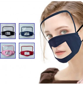 2pcs Reusable cotton face mask with clear TPU anti-fog eye protection shield visible mouth masks protective portable face shield mask for women men