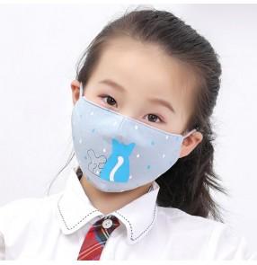 2pcs reusable face mask for kids cotton cartoon dustproof protective mouth mask for children