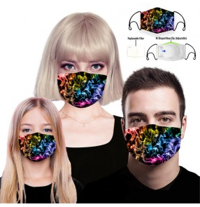 2PCS reusable face masks for unisex rainbow colorful printed washable face masks for women and men