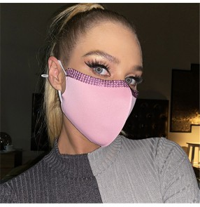 2pcs reusable face masks for women adjustable ear loop  washable photos video shooting fashion bling face masks for female