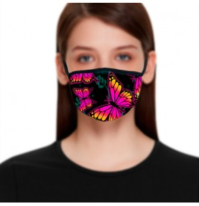 2PCS Reusable face masks for women butterfly 3D printed fashion washable cotton face masks for female