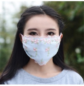 2pcs Reusable face masks for women outdoor riding sunscreen dust proof sun protection lace mouth masks for female