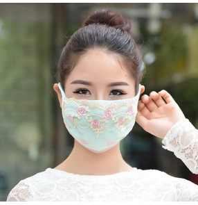 2pcs Reusable face masks for women riding sunscreen breathable dust proof protective lace mouth masks for female