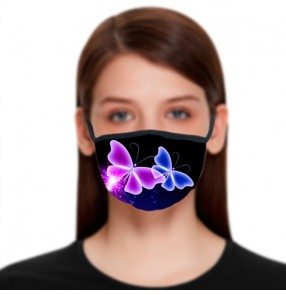 2PCS Reusable face masks with 3d butterfly pattern fashion photos shooting washsable face masks for female