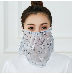 2PCS reusable flowers face masks for women anti-uv neck scarf mask thin breathable mask for female