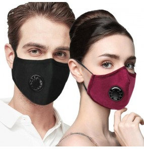 2PCS Reusable mask cotton mouth mask PM2.5 dust proof respirators with activated carbon filter breath valved mask for women and men