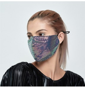 2pcs Reusable sequins fashion reusable face masks for women dust proof protective washable breathable mouth mask for female