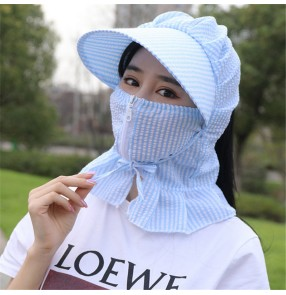 2pcs Reusable striped face mask sunscreen cap for women outdoor riding dustproof  face cover protective mask sun hat