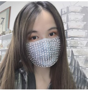 2pcs Rhinestones bling fashion hollow face mask for female stage performance night club photos video shooting jewelry mouth mask for women