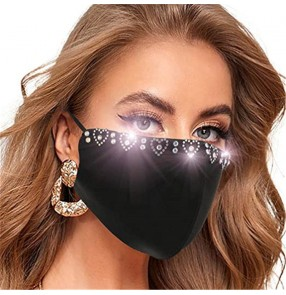 2PCS Rhinestones bling fashion reusable face masks for unisex outdoor protection washable black mouth masks with stones for female