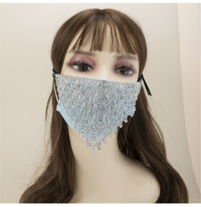 2pcs Rhinestones bling hollow face masks for women fashion photos video shooting night club dance stage performance mouth masks for female
