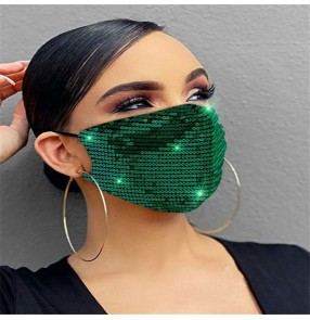 2pcs Sequin cotton reusable face masks for unisex fashion dust proof party performance protective mouth mask for women men