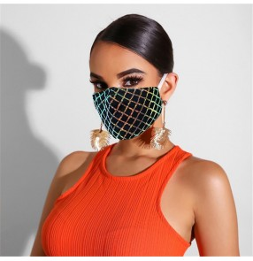 2pcs Sequin lace bling reusable face mask for female  fashion sun protection and UV protection adjustable and washable singers face masks