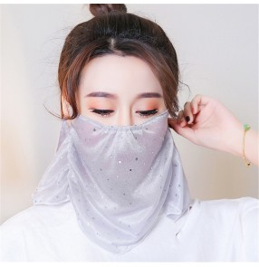 2PCS sequins face masks for women night club belly dance veil mask outdoor anti-uv neck scarf face mask for female