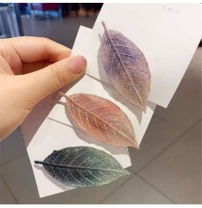 2PCS Side bangs clip for girls women embroidery leaf hairpin gradient hair clip
