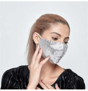 2pcs silver sequins Reusable face masks for unisex fashion glitter shiny washable dust proof protective mouth masks for women and men