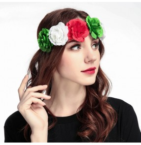 2pcs Simulation rose flower bridal wreath party cosplay hair band  garland European and American wedding party headdress
