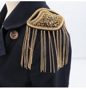 2pcs Singer Performance Suit Exaggerated Metal Rhinestone Tassel Epaulettes Clothing Accessories dress host bridegroom coat Accessories