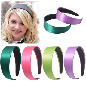 2pcs Wide-sided satin headband plastic candy color fashion women's face wash beauty headband hair accessories