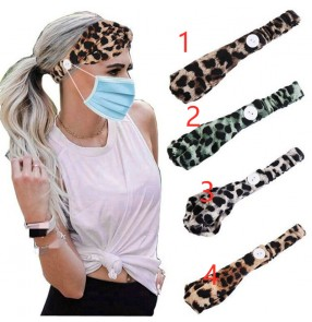 2pcs Women's sports yoga printed headband turban with button ear saving wearing mask hair band
