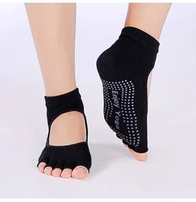 3pairs Female Yoga Non-slip Open Toe Socks Five Finger Socks Dance Socks