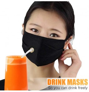 3PCS black reusable face masks with hole drink freely face masks for women and men